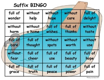 -ful, -less Suffix BINGO
