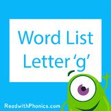 'g' CVC Phonics Word List | Phonics Resource