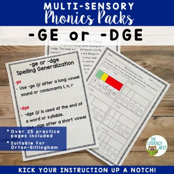 -ge/-dge Spelling Generalization Multisensory Phonics Orton-Gillingham