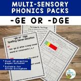 Phonics Packs: GE/DGE Spelling Generalization   Multisenso