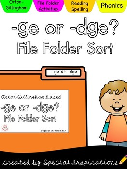 -ge or -dge File Folder Sort (Orton-Gillingham)