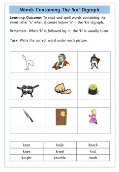 'gn' and 'kn' Digraphs Worksheets