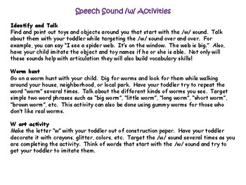 /h/ and /w/ Speech and Language Activities for Toddlers & Preschoolers