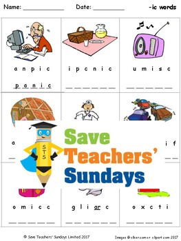 -ic Words Lesson Plan, Worksheets and Other Teaching Resources