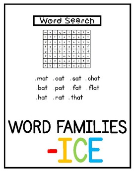 -ice Word Families Pack NO PREP