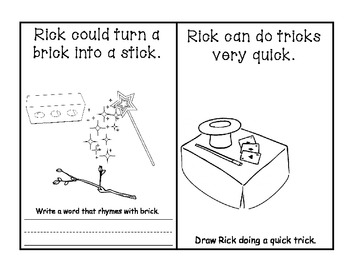 -ick Word Family Book - Rick and his Tricks AND Activities