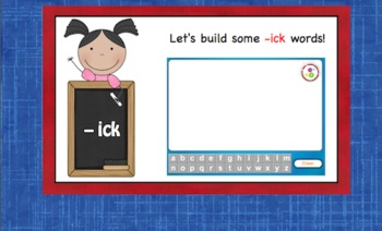 -ick Word Family Chunk Lesson-Smart Board –9 slides-Interactive-Grades PreK-3
