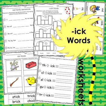 -ick & -uck Worksheets