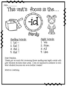-id WORD FAMILY PHONICS AND SIGHT WORD WORK EARLY LITERACY DECODING