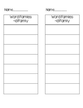-id and -in word family recording sheet