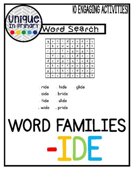 -ide Word Family Pack NO PREP