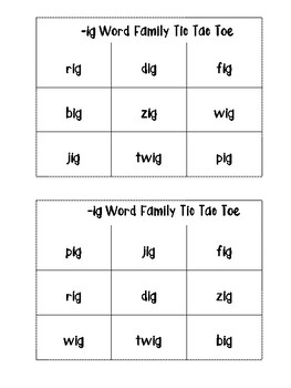 -ig Word Family Tic Tac Toe