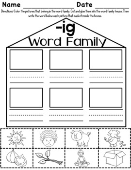 -ig Word Family Worksheets