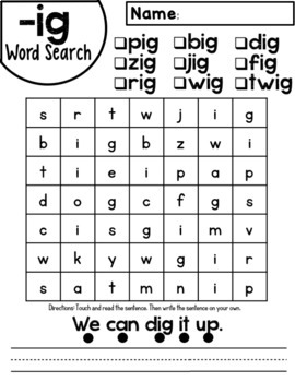 ig Word Family Worksheets by Red Headed Teacher | TpT