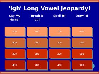 igh Long Vowel Jeopardy!