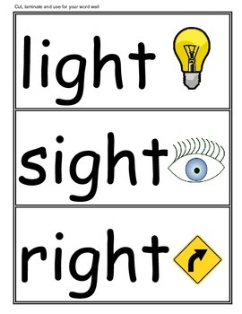 "Phonics: ""-ight"" Family Word Work--includes word wall set!"