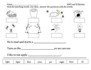 -ight and -ie vowel practice worksheets and write the room