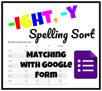 -ight, -y Spelling Sort Google Form