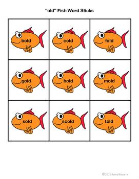 """ild"" and ""old"" Fish Word Sticks"