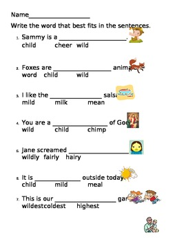 -ild in wild worksheets
