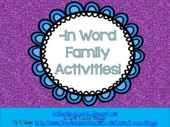 -in Word Family Activities!