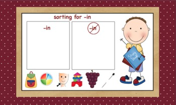 -in Word Family Chunk Lesson-Smart Board –9 slides-Interactive-Grades PreK-3