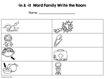 -in & -it Word Family Write the Room