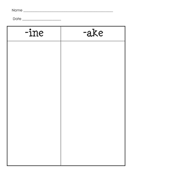 -ine & -ake Word Families (for Word Work or Centers)