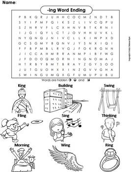 -ing Word Ending Word Search/ Coloring Sheet