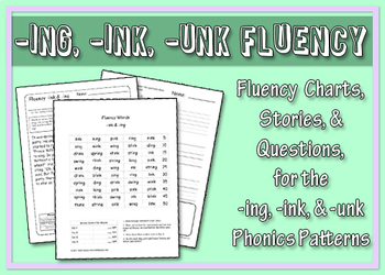 -ing, -ink, -unk Word Family Fluency Charts, Stories & Comprehension Worksheets