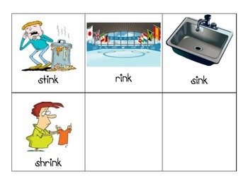 -ink Word Family Picture Cards