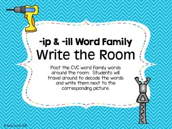 -ip & -ill Word Family Write the Room