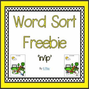 'ip-in' Short Vowel  Word Sort Freebie