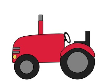 """Verb +ing""""...is driving a tractor"""" sentence frame."""