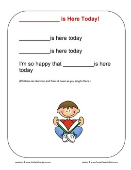 Who is here today teaching resources teachers pay teachers a greeting or hello song chart m4hsunfo