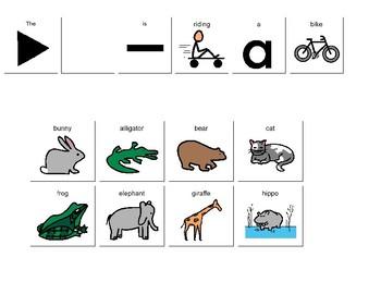 """Verb +ing""""...is riding a bike""""  sentence frame"""