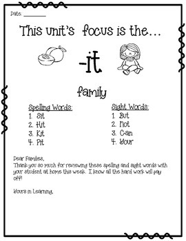 -it WORD FAMILY PHONICS AND SIGHT WORD WORK EARLY LITERACY DECODING