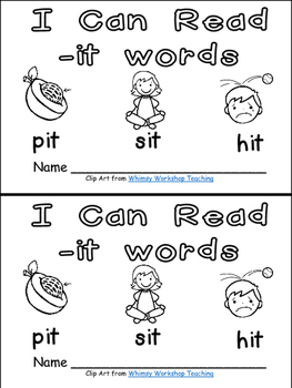 -it Word Family Emergent Reader Kindergarten with Pocket Chart Cards & More