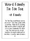 -it Word Family Tic Tac Toe
