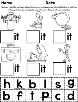 -it Word Family Worksheets