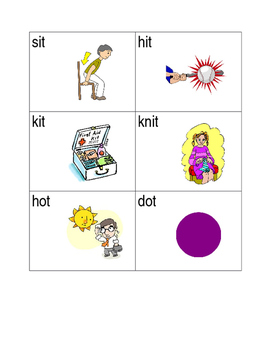 -it and -ot word family picture sort