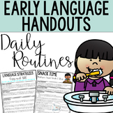Early Intervention Language Strategy Handouts for Daily Routines- Speech Therapy