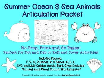 Summer Ocean Animals Articulation Packet No-Prep Packet for Speech Therapy