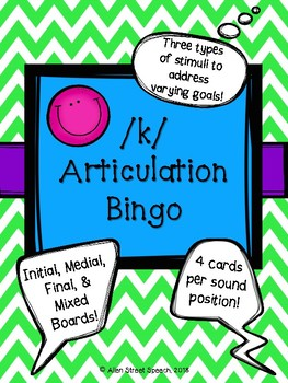 /k/ Articulation Bingo