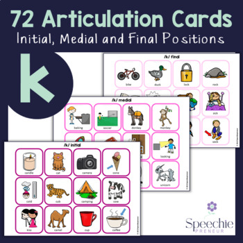 /k/ Articulation Flashcards - Initial, Medial and Final
