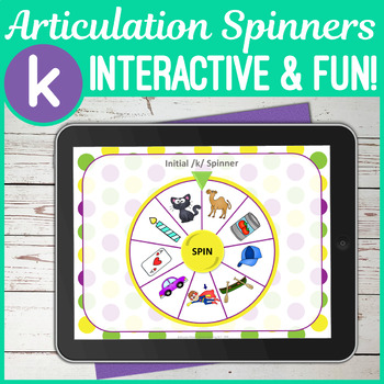 No Print K Sound Articulation Spinners for Digital Use on iPad or in  Teletherapy