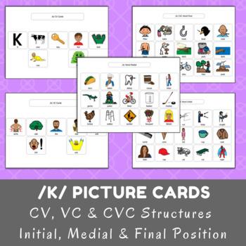 /k/ Picture Cards - CV, VC & CVC - Initial, Medial & Final Position