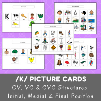 /k/ Picture Cards - CV, VC & CVC - Initial, Medial & Final Position