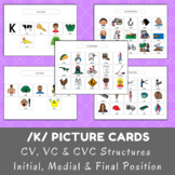 /k/ Picture Cards - CV, VC & CVC - Initial, Medial & Final