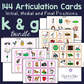 /k/ and /g/ Articulation Flashcards - Initial, Medial and Final - BUNDLE